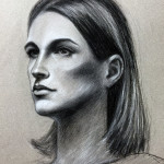 "Model 1, 18""x24"", Charcoal and chalk on paper"
