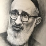 "Rav Soloveitchik, 18""x24"", black Prismacolor on paper"