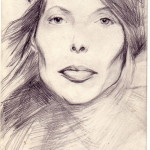 """Joni Mitchell, 4""""x6"""", Pencil on paper"""
