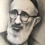 """Rav Soloveitchik, 18""""x24"""", black Prismacolor on paper"""